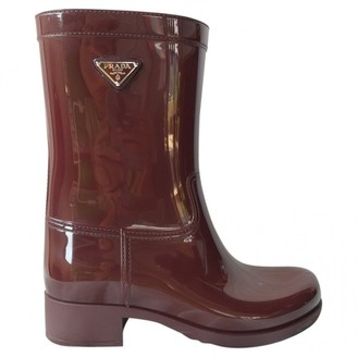 Prada Brown Rubber Boots