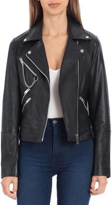 AVEC LES FILLES Hardware Heavy Leather Biker Jacket