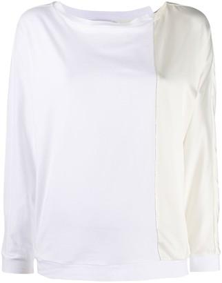 Fabiana Filippi contrast panel silk T-shirt
