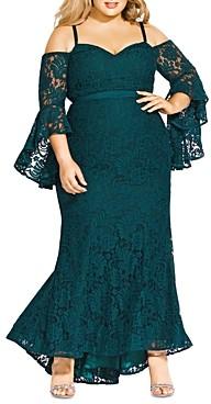 City Chic Plus Mesmerize Sweetheart Lace Dress
