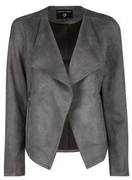 Dorothy Perkins Womens Grey Suedette Waterfall Jacket, Grey