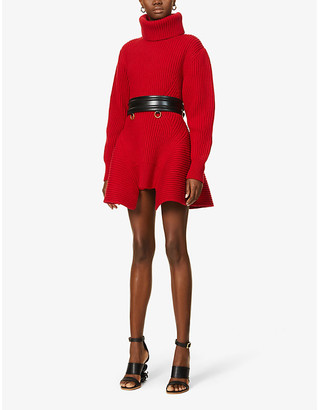 Alexander McQueen Turtleneck wool and cashmere-blend mini dress