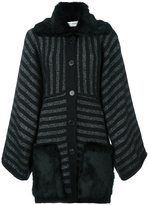 Sonia Rykiel metallic striped mid-length coat - women - Rabbit Fur/Polyamide/Polyester/Wool - S