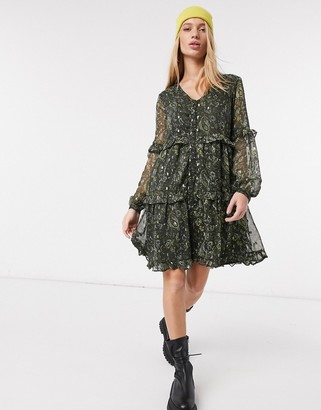 Y.A.S chiffon mini smock dress in green paisley