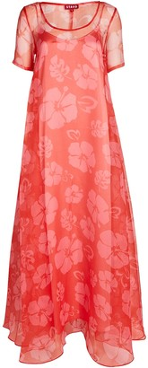 STAUD Maui Floral Organza Maxi Dress