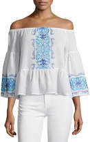 Nightcap Clothing Santori Off-The-Shoulder Embroidered Top, White