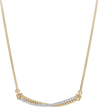 David Yurman Crossover 18k Gold Bar Necklace with Diamonds, 16-17""