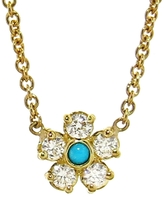 Jennifer Meyer Diamond Flower Turquoise Necklace