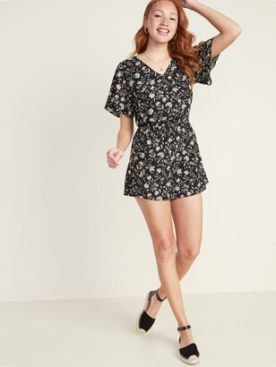 Old Navy V-Neck Flutter-Sleeve Romper for Women