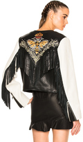 Etoile Isabel Marant Kirk Embroidered Bubble Leather Jacket in Black,White.