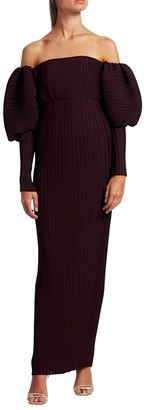 SOLACE London Tasmin Off-the-Shoulder Puff-Sleeve Maxi Dress