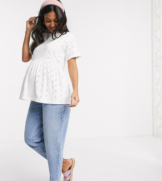 ASOS DESIGN Maternity smock top in all over broidery