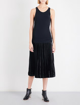 Toga Pleated jersey and velvet dress