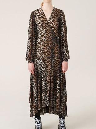 Ganni Printed Mesh Wrap Dress Leopard - 36