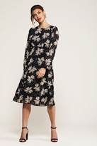 Yumi Pointy Flower Print Midi Dress