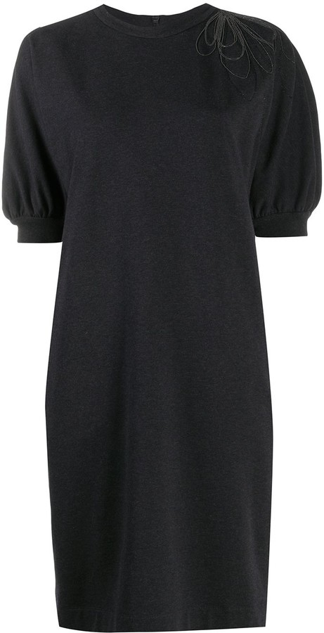 Brunello Cucinelli Drape-Bead Shift Dress