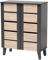 Design Studios Melle Two-Tone Oak Brown And Dark 2-Door Wood Entryway Shoe Storage Cabinet