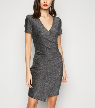 New Look Glitter Wrap Bodycon Dress