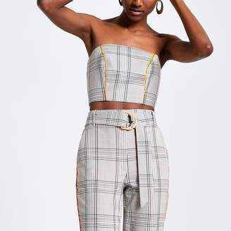 River Island Womens Grey check bandeau crop top