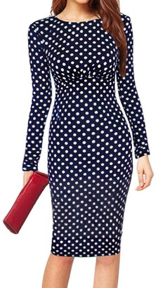Minetom Women's Long Sleeve Bodycon Formal Polka Dot Printed Party Evening Cocktail OL Pencil Dress Dark Blue UK 12