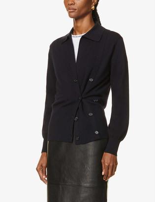 Victoria Victoria Beckham Asymmetric buttoned wool cardigan