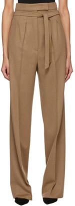 Max Mara Brown Camel Wool Break Trousers