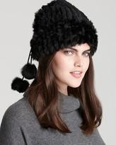Surell Rabbit Fur Loop Muffler/Hat with Pom-Poms