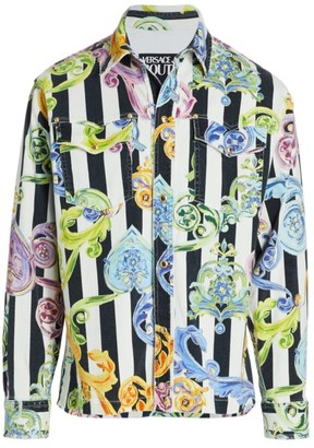 Versace Baroque Striped Printed Denim Jacket