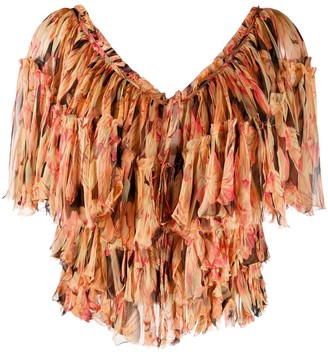 Mes Demoiselles Cropped Tiered Ruffle Top