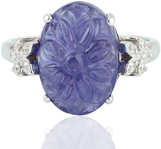 Artisan 18kt White Gold Diamond Tanzanite Cocktail Ring