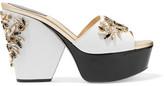 Rene Caovilla Embellished Patent-Leather Paneled Snake Platform Sandals