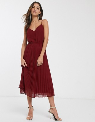 ASOS DESIGN pleated cami midi dress with drawstring waist in oxblood