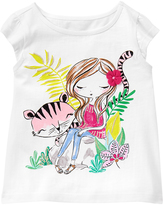 Gymboree White & Green Girl & Tiger Graphic Cap-Sleeve Tee - Infant & Toddler