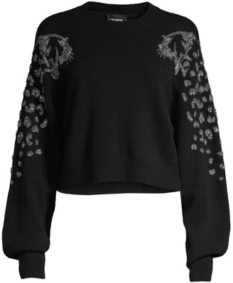 The Kooples Embellished Puff-Sleeve Crop Sweater