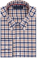 Tommy Hilfiger Men's Classic-Fit Non-Iron Beige and Blue Check Dress Shirt