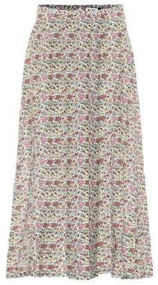 Rixo Georgia cotton and silk midi skirt