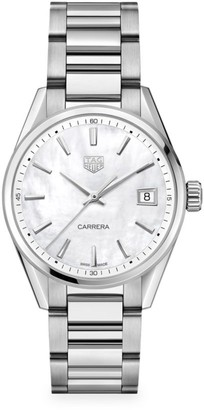 Tag Heuer Carrera 36MM Stainless Steel, Mother-of-Pearl & Diamond Quartz Bracelet Watch