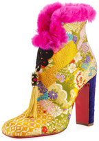 Christian Louboutin May Wong Brocade Fur-Trim 100mm Red Sole Bootie