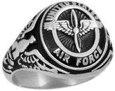 US Jewels And Gems Men's 0.925 Sterling Silver United States Air Force Military Solid Back Ring (Size 8)