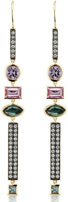 Sorellina Diamond Bar Three-Stone Drop Earrings