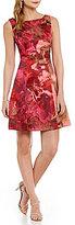 Kay Unger Floral Brocade Sheath Dress
