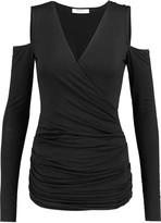 Bailey 44 Cutout shoulder wrap-effect jersey top