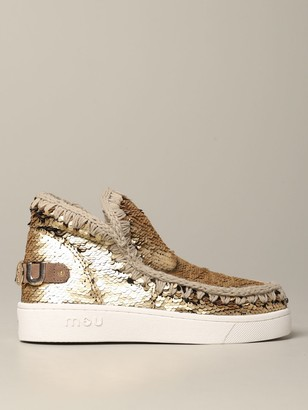 Mou Flat Booties Sequined Eskimo Sneakers