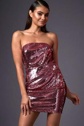I SAW IT FIRST Pink Sequin Bandeau Bodycon Dress