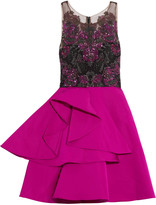 Marchesa Embellished tulle and satin mini dress