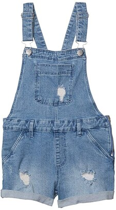 Cotton On Free Denim Shortall (Big Kids) (Mid Indigo/Rips) Girl's Jumpsuit & Rompers One Piece