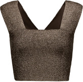 A.L.C. Ali cropped metallic stretch-knit top