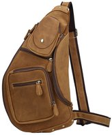 Texbo Genuine Cowhide Leather Cross Body Sling Bag Backpack Bag