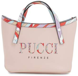 Emilio Pucci Logo Printed Leather Tote Bag