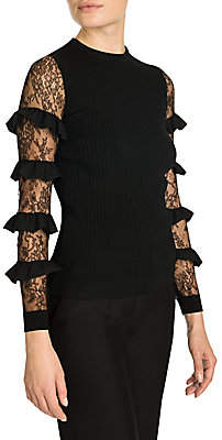 Valentino Women's Ruffle Lace Sleeve Rib-Knit Top
